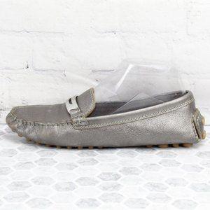COACH NOLA Metallic Pewter Loafers Size 7.5 B
